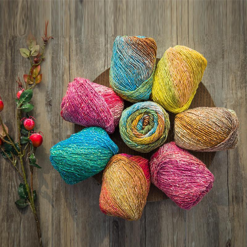 100g/bola artista Arco Iris algodón Crochet hilo para tejer a mano Laine hilo acrílico Wol costura bufanda suéter mezclado de punto
