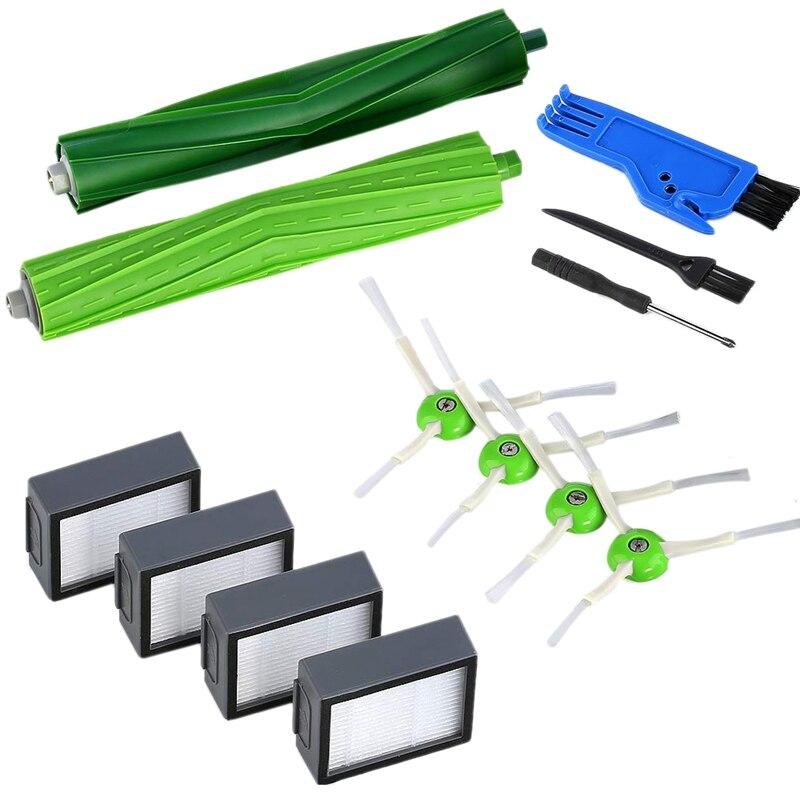 13 Uds Kits de repuesto para IRobot Roomba I7 I7 +/I7 Plus E5 E6 juego de aspiradora 4 filtros 4 cepillos de barrido de bordes 1 Juego de Doble