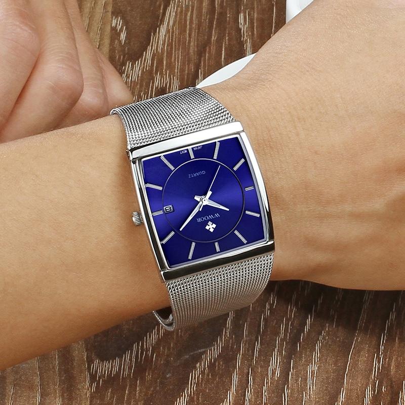 WWOOR Luxury Mens Rectangle Watch Fashion Sports Date Quartz Slim Watches Man Waterproof Steel Mesh Strap Blue Clock Male xfcs