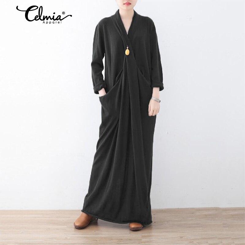 Women Long Sleeve Sweater Dress 2020 Celmia Female Winter Long Maxi Dress Casual Loose Pleated V neck Vestido Robe Plus Size 5XL