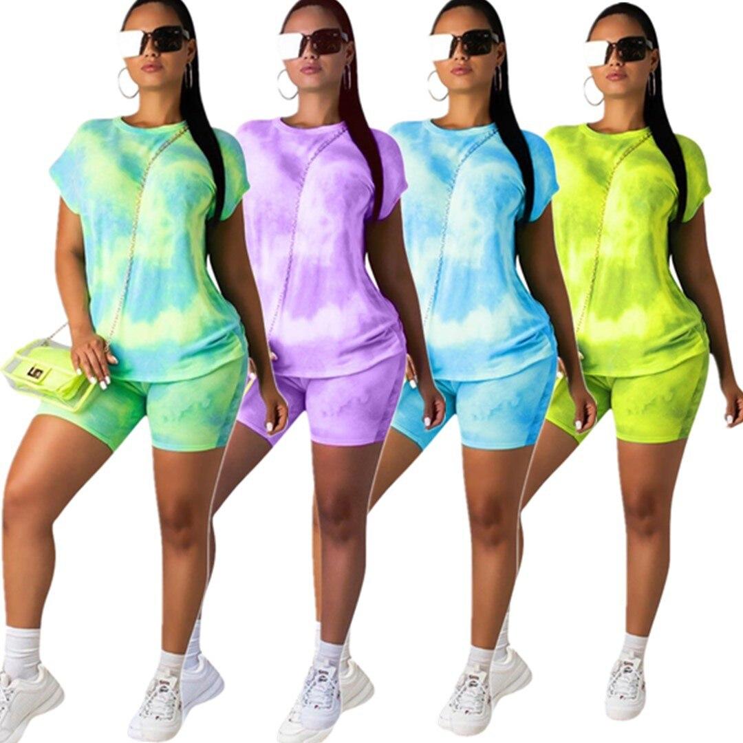 Conjunto de 2 piezas wom nuevo de verano para mujer, estampado de galaxia, cuello redondo, camiseta de manga corta y pantalones cortos, conjunto de dos piezas, chándal deportivo