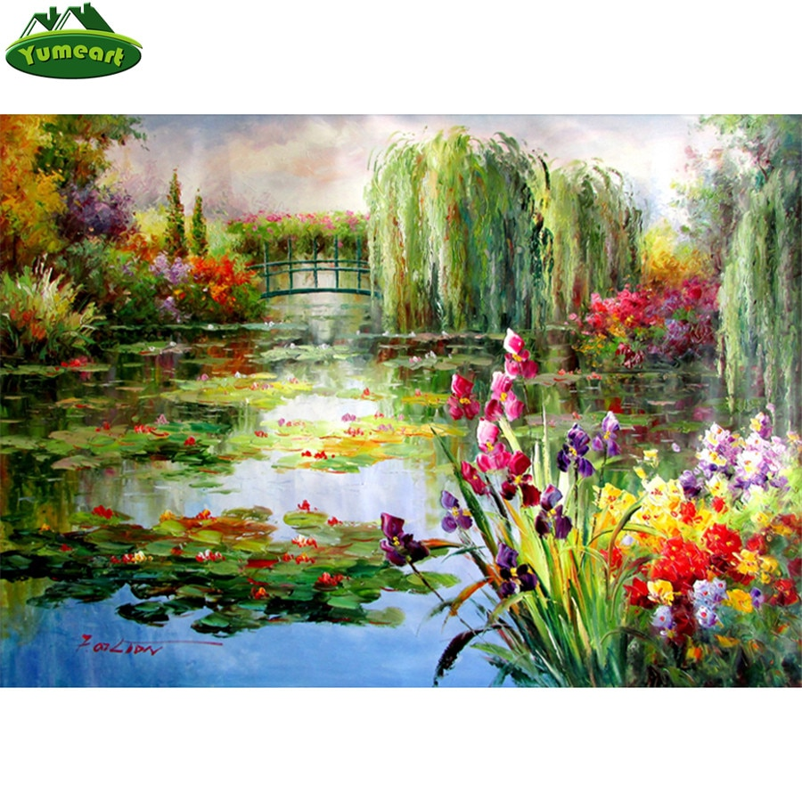 Claude Monet Colorful Water Lily Diamond Painting by Number,mosaic Diamond Picture Full Square Diamond Embroidery Sale,wall Arts