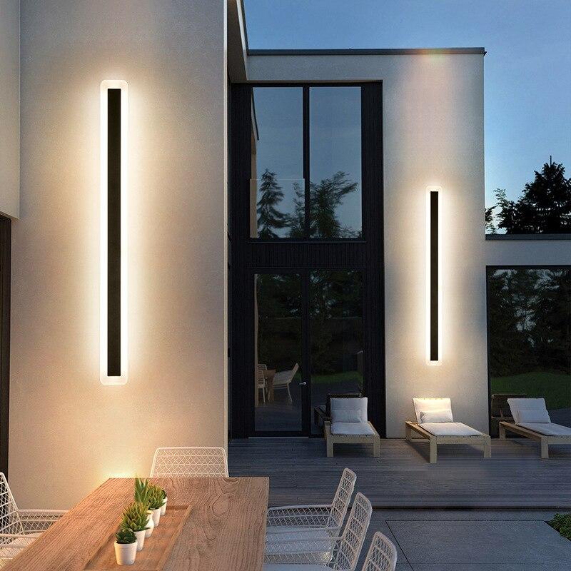 Modern Outdoor Waterproof LED Wall Lamp IP65 Aluminum Acrylic Long Strip Light Garden Villa Porch Sconce Lighting Luminaire