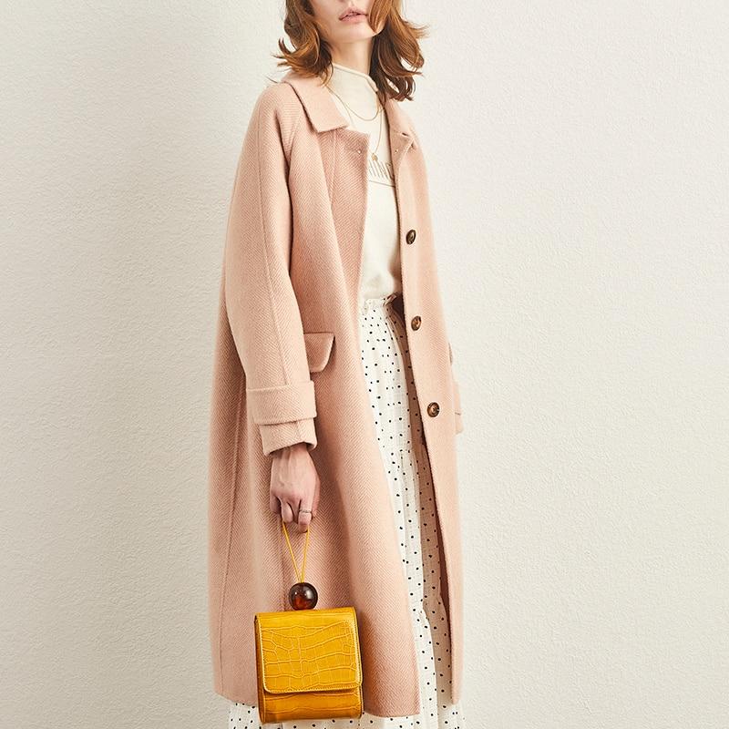 Chaqueta de lana para mujer, abrigo cálido de doble cara de Cachemira,...