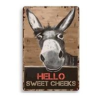 Citation drole de salle de bains en metal  decor mural Vintage Hello Sweet Cheeks ane pour bureau maison salle de classe  decor de salle de bains  meilleurs cadeaux Fa