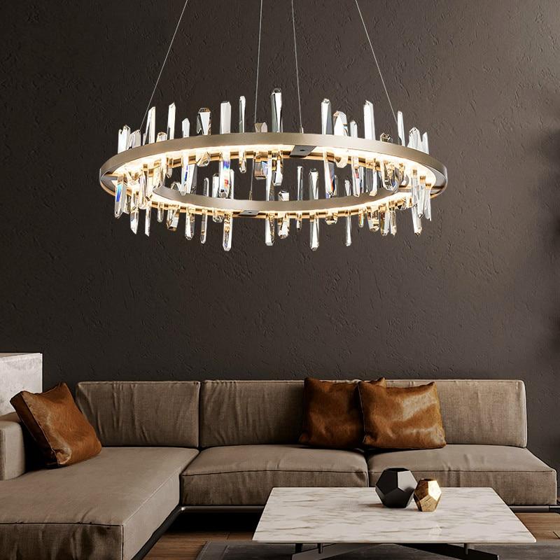 الفاخرة كريستال LED أضواء الثريا غرفة المعيشة الإضاءة المستديرة داخلي اللوبي مكتب الجبهة الثريا مصابيح المنزلية