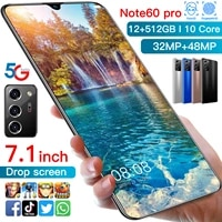 note60 pro 7 1inch 12gb 512gb new smartphones 32mp48mp android 10 5600mah ten core really mtk6889 4g 5g dual sim global version
