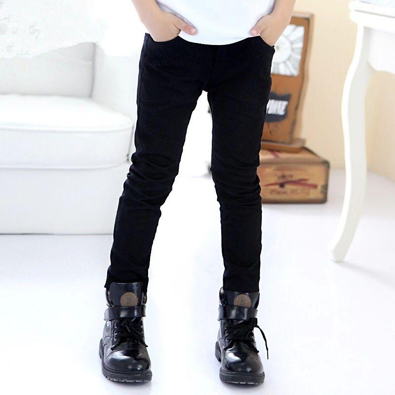 Pantalones negros elásticos de primavera y otoño para niños, pantalones largos de estilo coreano de primavera 2020, ropa exterior nueva
