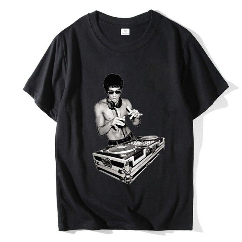 2020 novo dj vintage engraçado t-shirts homem algodão tshirt casual topos hipster streetwear brucee lee impresso masculino moda t camisa t111