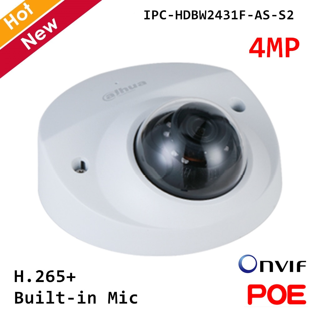 Dahua IPC-HDBW2431F-AS-S2 cámara IP de 4MP micrófono incorporado H.265 + soporte 256G tarjeta SD 12V DC/PoE Smart PSS, DSS, cámara de seguridad DMSS