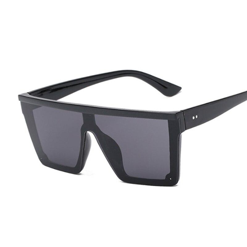 New Oversized Sunglasses Women Big Frame Square Flat Top Rivet Sun Glasses Female Women/Men Vintage