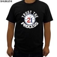 "Fashion Logo Printing T Shirts Black Embiid Philadelphia "" Trust The Process "" T-shirt men summer fashion top tees"