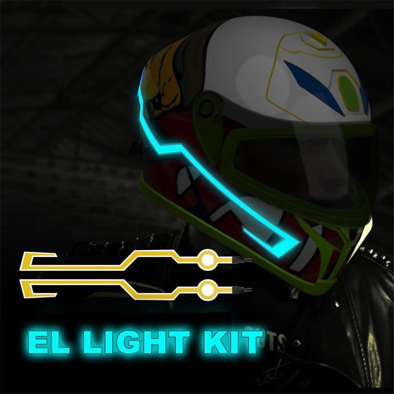 Nuevo casco de motocicleta ligero LED DIY, casco negro, luz LED de seguridad para motocicleta, tira reflectante, cinta de modificación genial