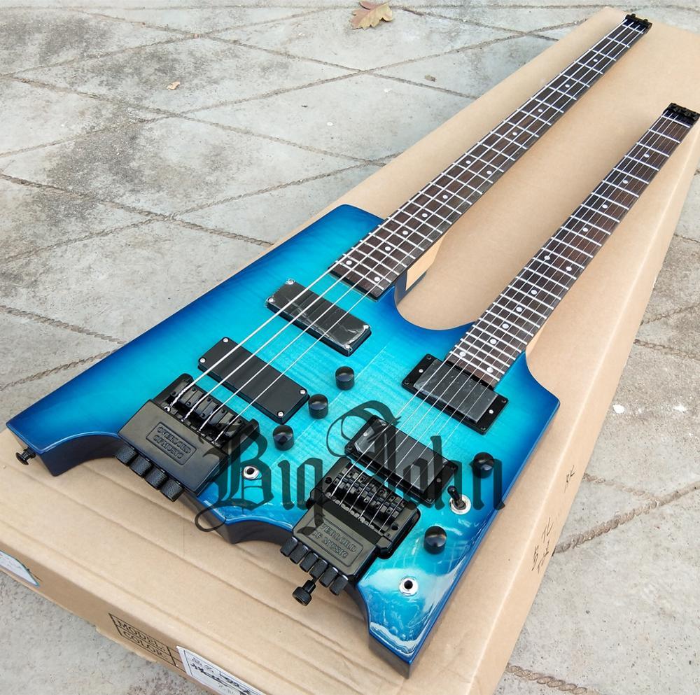 New Big John Double Neck Headless electric guitar,4 strings electric bass Upper&6 Strings Guitar Lower in Blue BJ-238