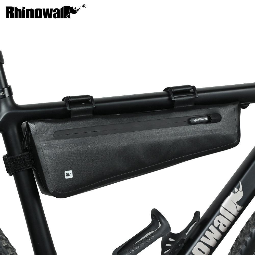 Bolsa de marco triangular para bicicleta rinowalk 2,2-2,8 l, impermeable, bolsa de tubo frontal para bicicleta de montaña, bolsa de almacenamiento plegable para bicicletas de carretera
