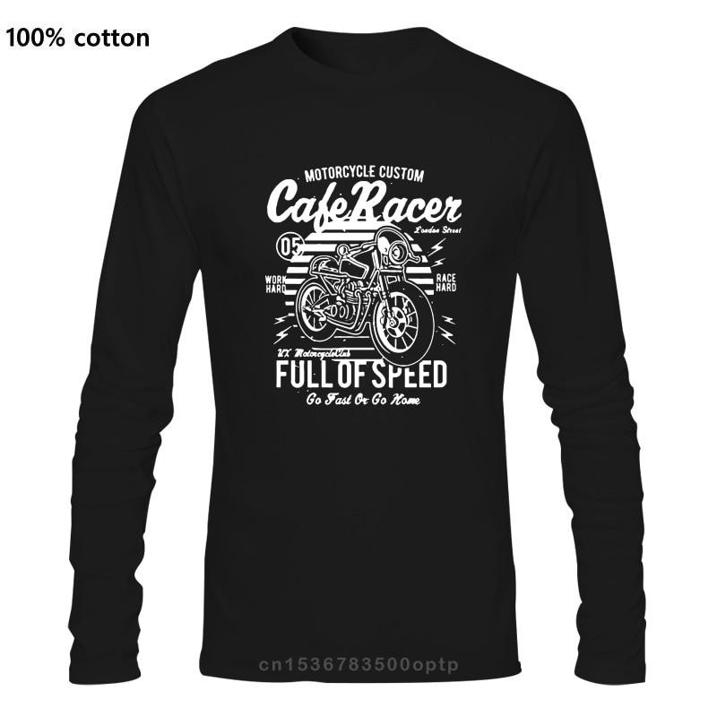 Cafe racer cheio de velocidade da motocicleta retro t camisa do vintage 100% algodão t em torno do pescoço impressionante topos dos homens manga longa t camisa
