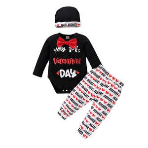 Three Piece Newborn Baby's Clothes Unique Heart Letter Long Sleeve Jumpsuit and Long Pants with Hat