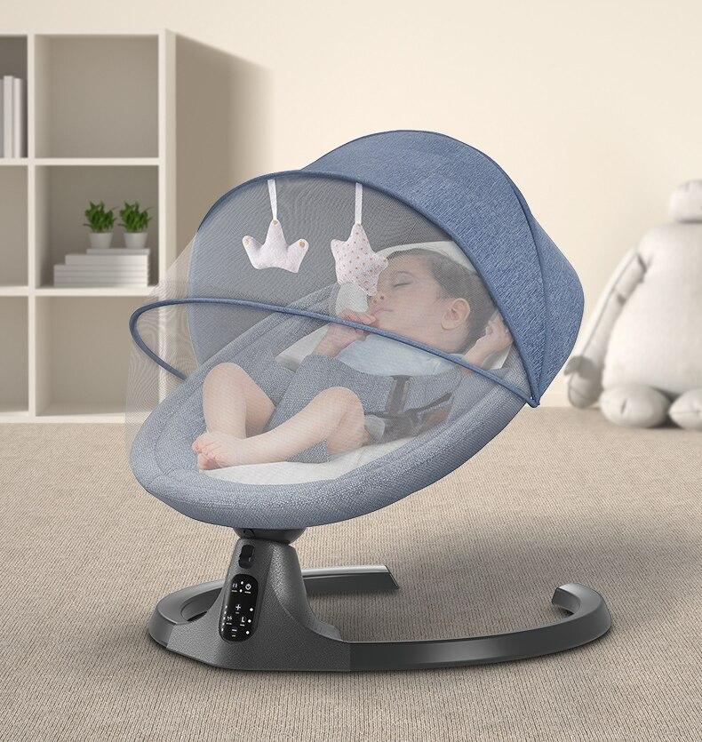 كرسي هزاز مع جهاز تحكم عن بعد بلوتوث للأطفال ، وسلة نوم كهربائية لحديثي الولادة ، من 0 إلى 36 شهرًا