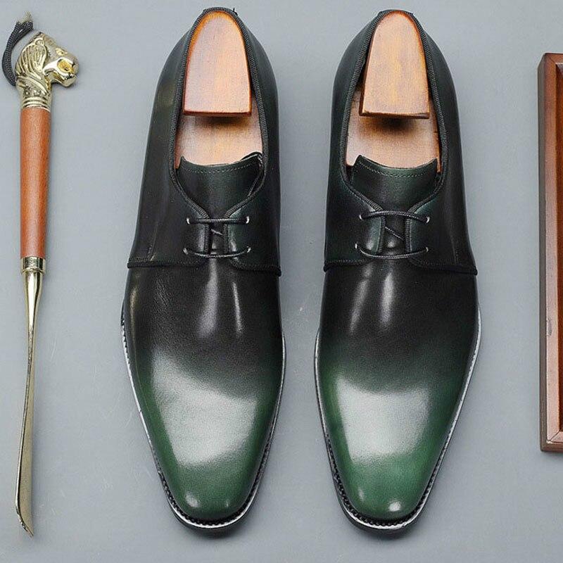 B-907 الرجال فستان أحذية جلد طبيعي مكتب الأعمال الزفاف اليدوية الأساسية الرسمية أشار تو Oxfords الماركات الفاخرة hoes