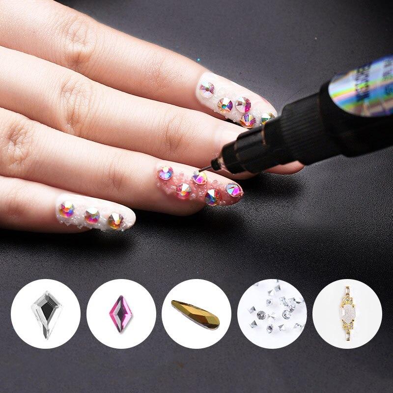 DIY Nail art accessories No Wash Point Drill Glue Caulking Pen Dual Use Portable Drilling Adhesive for UV Acrylic Rhinestone