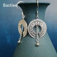 bastiee hmong bronze drum 999 sterling silver earrings for women dangle earings round handmade luxury jewelry miao silver gifts