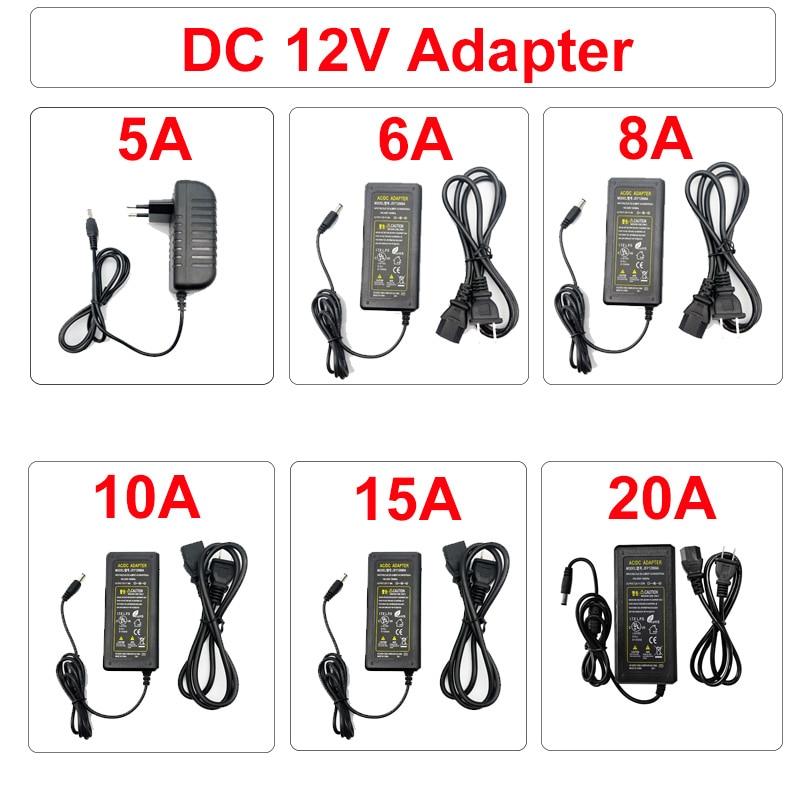 ac110 240v transformer dc24v 0 5a ac to dc switch power supply AC DC Power Supply Adapter 110V 220V To 12V 5A 10A 20A Switch plug LED Driver Transformer For Led Strip Security Cameras Webcam