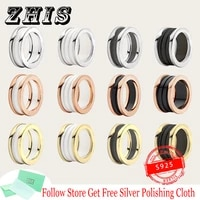 original s925 silver ring black white ceramic thread gold ring classic rome logo lovers ring luxury brand jewelry ladies gifts