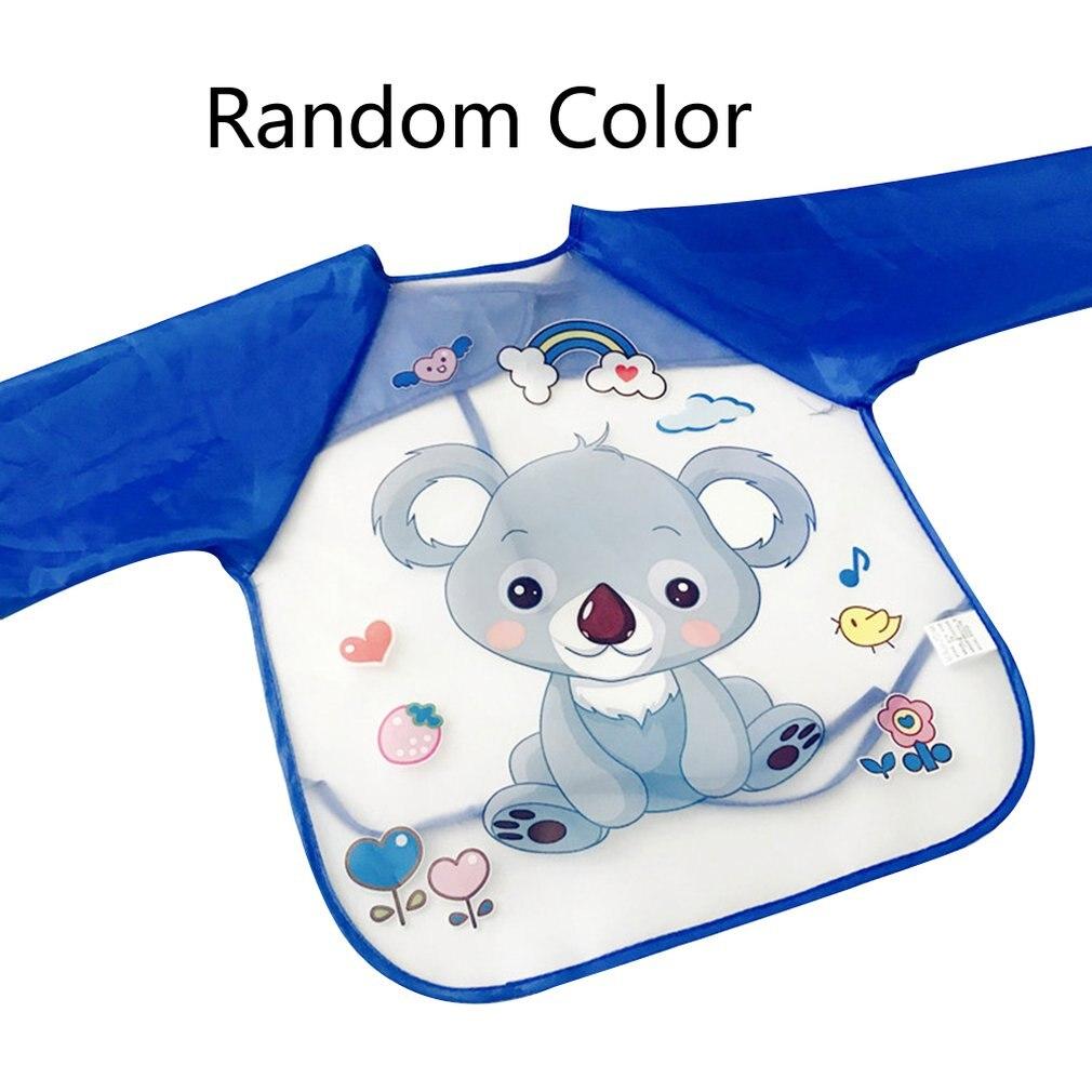 Ropa para niños, cuadros para bebés, Baberos para jardín de infantes, comida desechable de manga larga, babero impermeable, Babero con botón en la espalda
