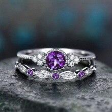 Boho femelle violet rond coupe AAA + CZ cristal ensemble de bagues marque de luxe promesse argent couleur anneau de mariée anneaux de mariage pour les femmes