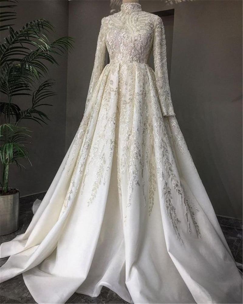 عالية الرقبة كم طويل فستان زفاف عربي التطريز الكرة ثوب الزفاف مسلم