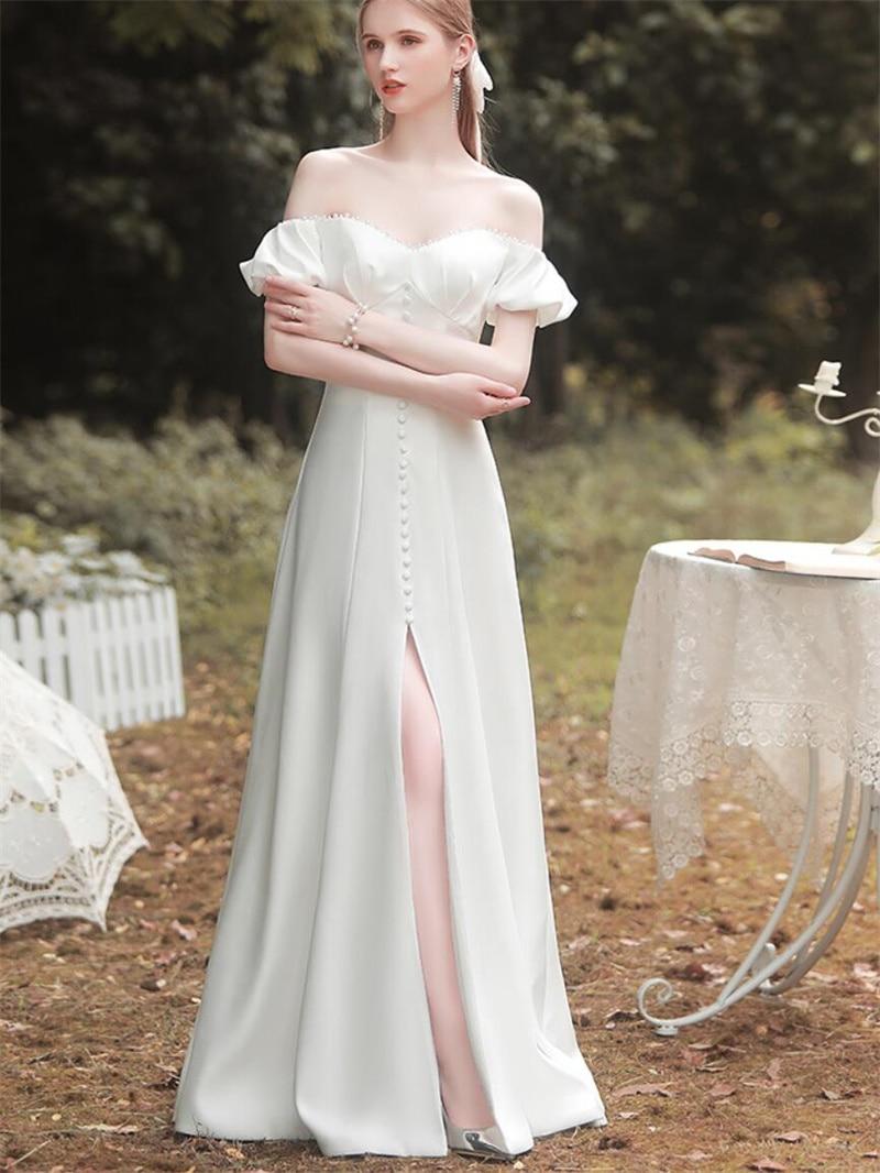 Off-Shoulder Pearl Short Sleeve Backless Lace-up Floor Length Slit Wedding Dress Bride Gown Vestidos De Novia robe mariée
