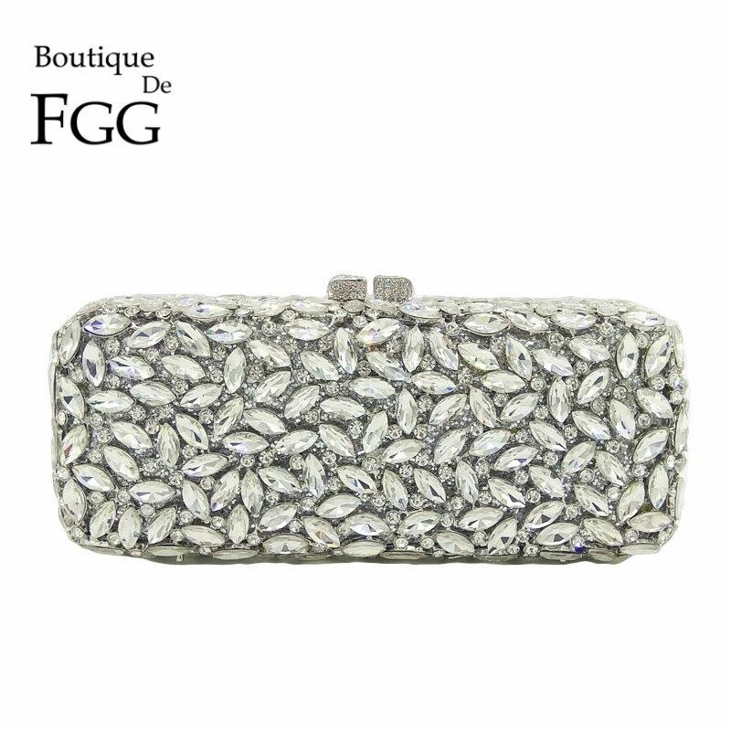 Boutique De FGG, bolsos De mano con cristales para mujer, bolsos De noche, caja hueca De Metal, Minaudiere, bolso De mano, monedero nupcial, bolsos De fiesta De boda