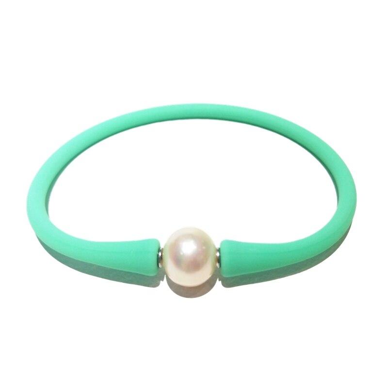1 Uds. Pulsera de silicona de perlas de Color verde menta de goma a prueba de agua informal para Amigos de la madre mejor pulsera de regalo