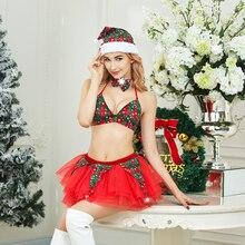 Women Lace Sexy christmas Dress Girl Sexy Lingerie Bra Set Christmas Gift Costume Xmas Baby Girl Hat
