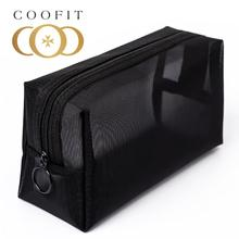 coofit 1pc Portable Makeup Bag Black Mesh Multi-Purpose Cosmetic Bag Toiletry Pouch Outdoor Travel M