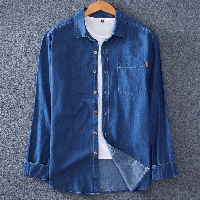 Men's denim long-sleeved shirt. 100% cotton summer fashion solid color breathable and comfortable lapel  (oversized plus size)