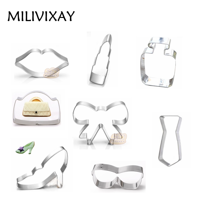 MILIVIXAY 1Pcs Lip Stick/Glasses/Handbag Shape Cookie Cake Mold Stainless Steel Fondant Dessert Chocolate Mold Party Supplies