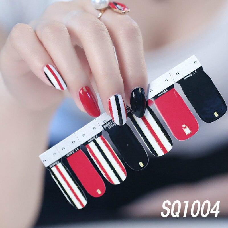 14 consejos, calcomanías de transferencia para arte de uñas de moda, adhesivo versión coreana, colección de manicura DIY, tiras de esmalte para arte de uñas, envolturas para fiesta