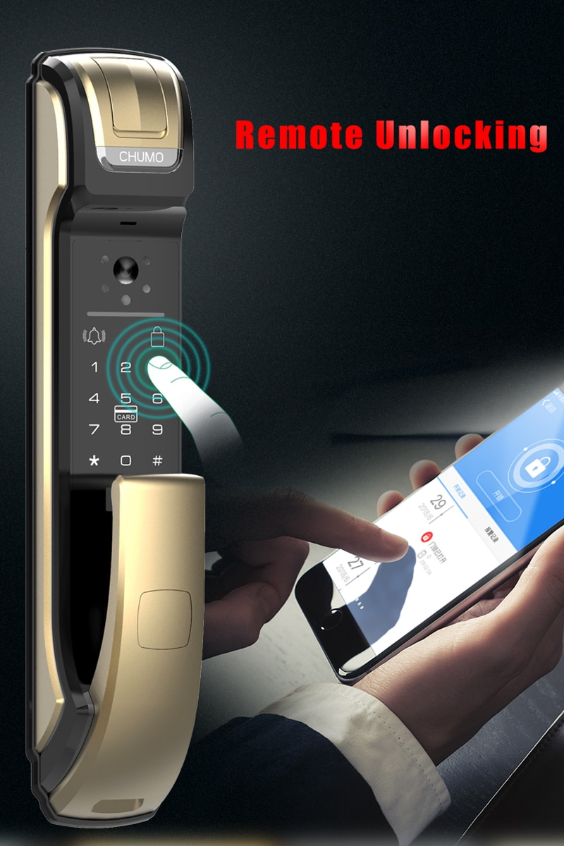 Fingerprint lock with surveillance camera home security visible smart password lock fully automatic electronic door APP  lock