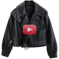 new spring women faux leather jacket biker coat turndown collar pu jackets loose streetwear outerwear leather jacket women