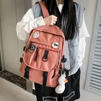 est new unisex backpack waterproof nylon large capacity kawaii badge girls schoolbag preppy men shoulders bagpack mochila 2021
