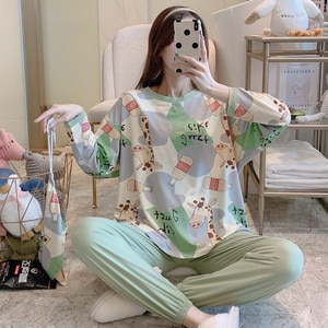 girls' cloth bag Pullover pajamas women Autumn and winter long sleeve milk silk household clothes sweet and slim three piece set