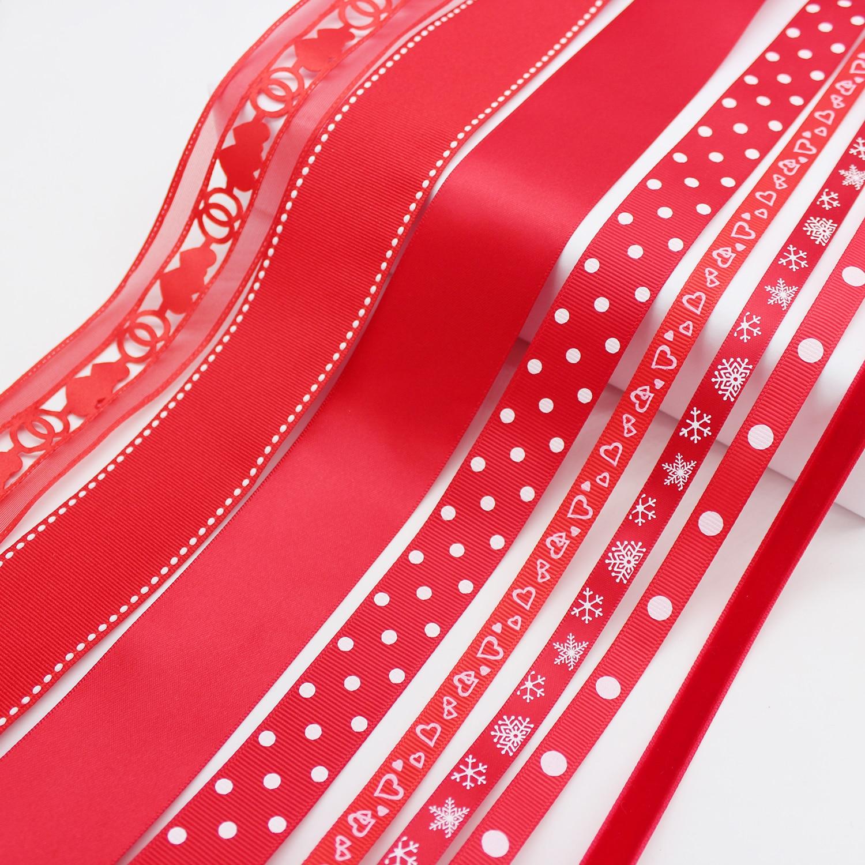 5 metros/lote cinta de terciopelo de satén Grosgrain serie roja cinta de guinga DIY accesorios para manualidades de boda 3mm 6mm 9mm 13mm 16mm 25mm 38mm