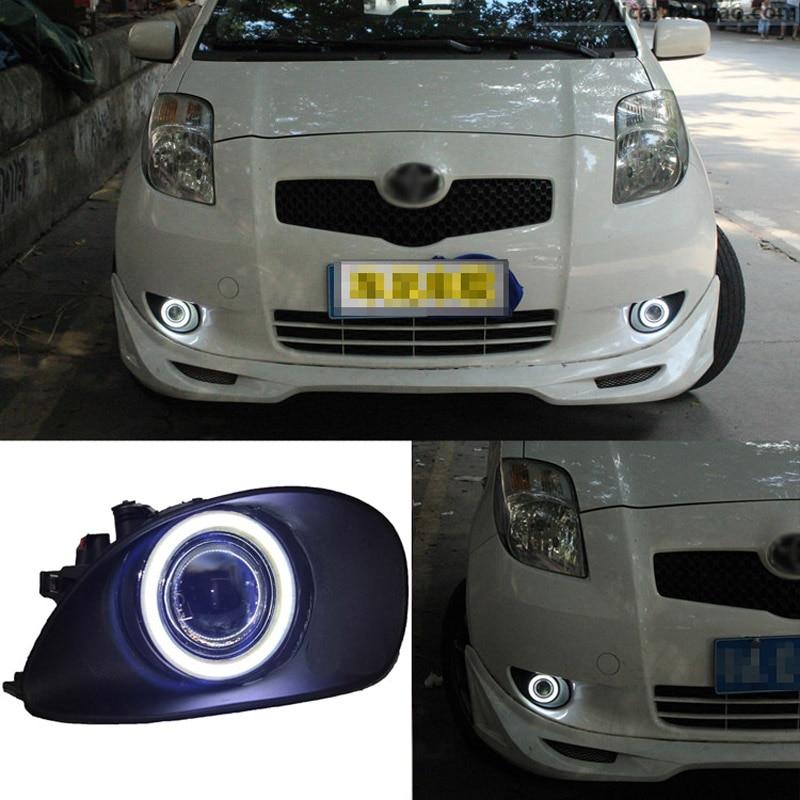 Superb LED Bulbs COB Fog Lights  Source Angel Eye Bumper Cover Fit For Toyota Yaris 2007-2009
