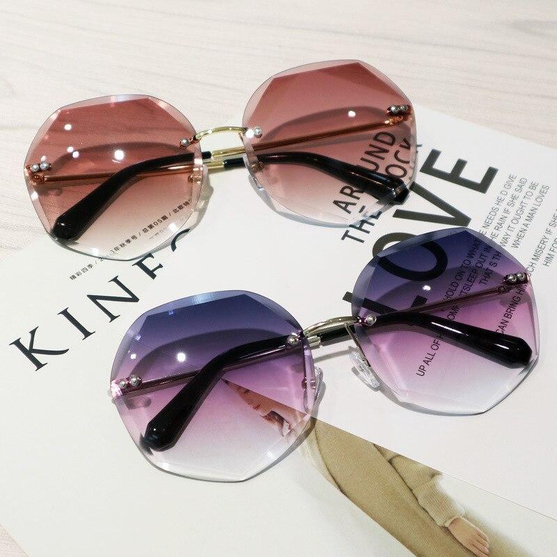 Многоугольник обрезки солнцезащитные очки женщин Мода без оправы градиентный солнечные очки тёмные очки для резки линзы дамы бескаркасные...