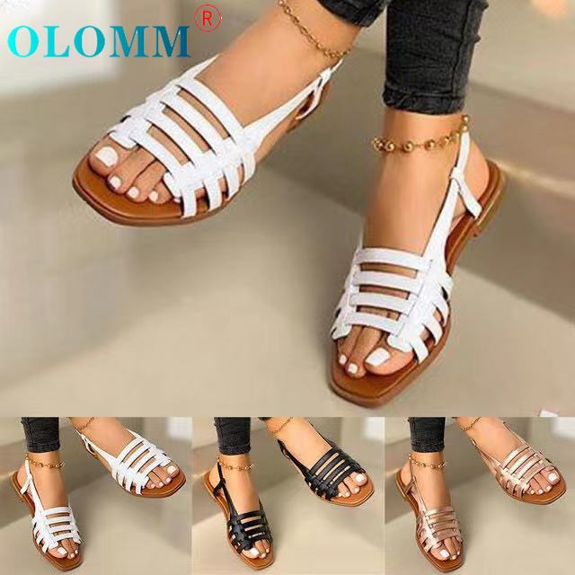 Sandals Ladies Summer Outdoor Fashion Flat Shoes Round Toe Elegant Slippers Adjustable Buckle Belt Casual Comfortable