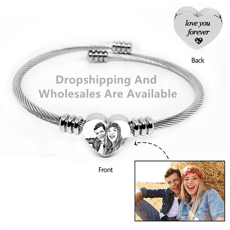 Custom Heart Shape Engraving Bracelet . Custom Personalized Pet/Letter Photo  Bracelets.Women Men Jewelry Memorial Gift.