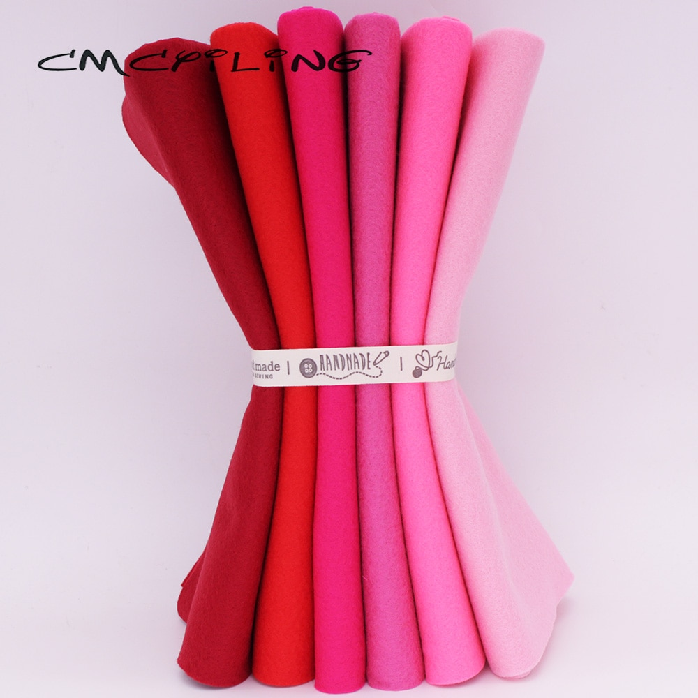 CMCYILING 25cm x 28cm 6 unids/lote almazuela roja tela de fieltro suave de costura DIY muñecas para coser manualidades tela de poliéster