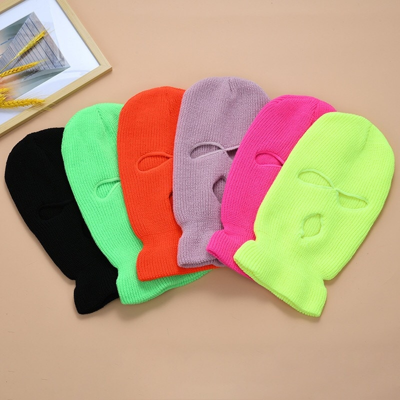 Ski Mask Knitted Face Cover Winter Balaclava Full Face Mask for Winter Outdoor Sports CS Winter Three 3 Hole Balaclava Knit Hat