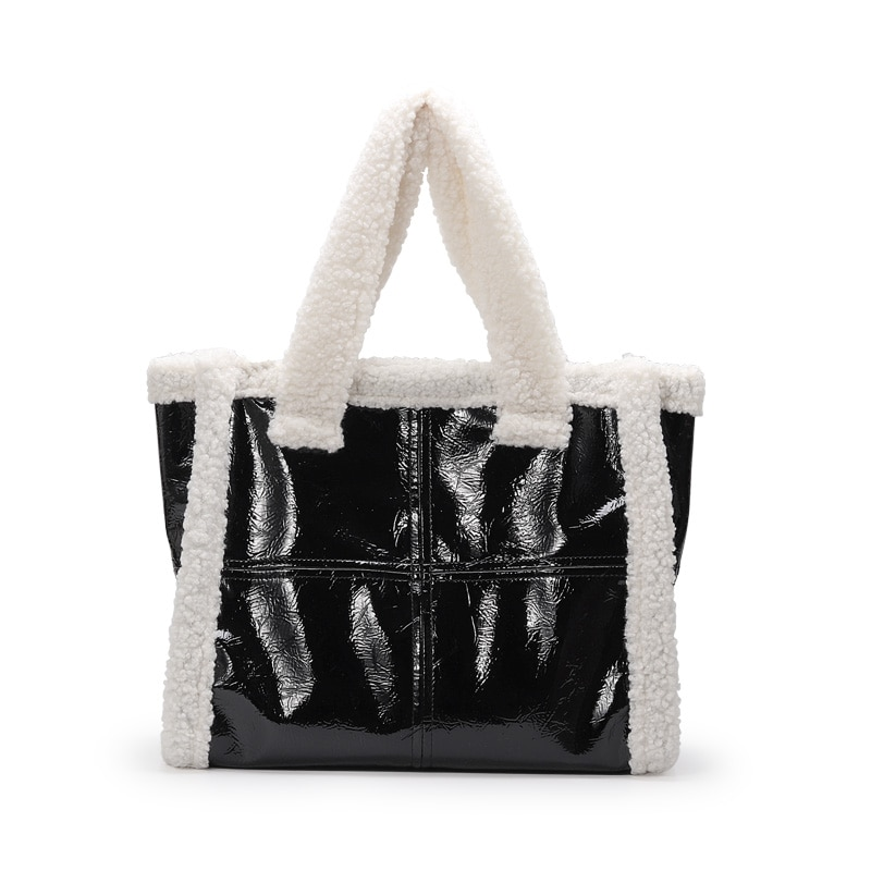 Large Totes Winter Hot Style Sheep Fur Women's Handbags Plush Pu Leather Shoulder Bag Black Designer Bags for Women 2020